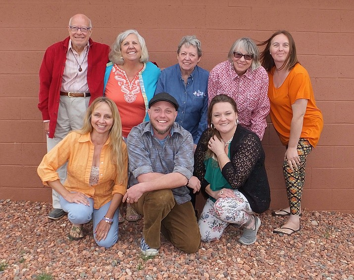Red Earth Theatre group: L-R:  (rear) Larry Rosenberg, Chris Verquer, Maureen Nelson, Kathy Bashor, and Savannah Saunders.  (front) Lydia Collins, Chris Duarte, and Kandace LeMond