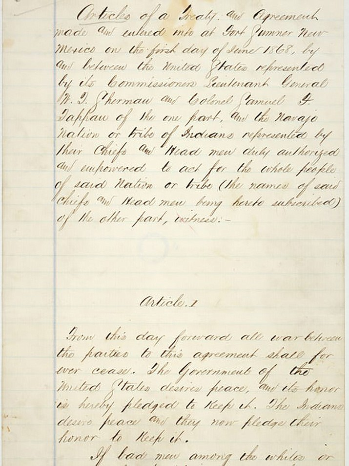 The Treaty of Bosque Redondo. (US National Archives and Records photo)