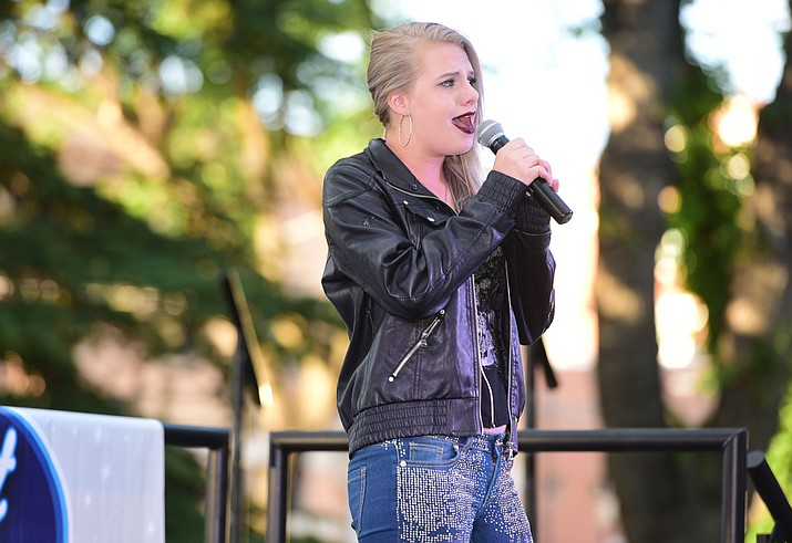 """Isabella Martin sings """"I Dreamed a Dream"""" during the first round of Prescott Idol 2017, on the courthouse plaza in downtown Prescott. (Les Stukenberg/Courier, file)"""