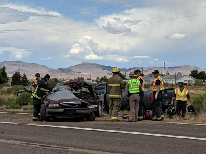 A collision near mile marker 21 at Colorado Road on Highway 68 in Golden Valley happened at about 11:15 a.m. Tuesday, May 30, 2019. (Photo by Travis Rains/Daily Miner)