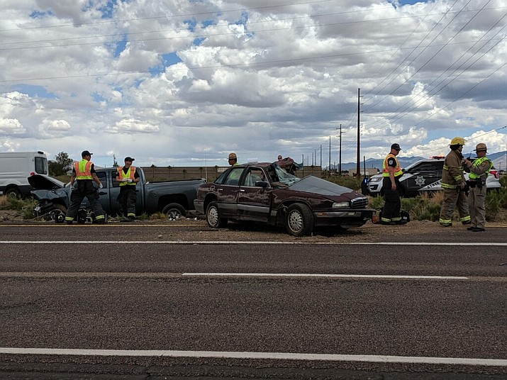 The initial report said a maroon, four-door sedan and a blue-gray Chevrolet Silverado pickup truck were involved in the accident at the intersection of SR 68 and Colorado Road. (Photo by Travis Rains/Daily Miner)