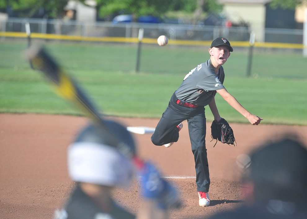 Prescott Valley's Connor Wallace delivers a pitch against Prescott at the Little League Tournament of Champions in Chino Valley Saturday May 31.  (Les Stukenberg/Courier)