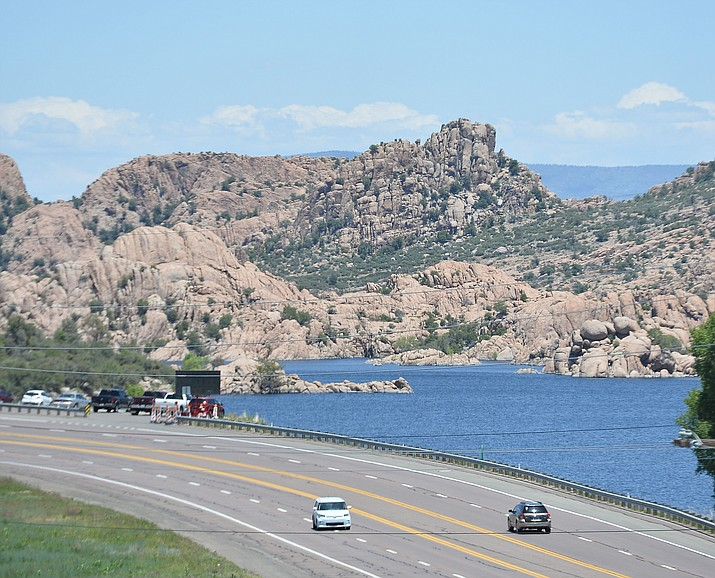 Watson Lake from west of Highway 89 on Friday, May 31, 2019. The Fourth of July fireworks will be held at Watson Lake,  which could cause the City of Prescott to close Highway 89 between Prescott Lakes Parkway and the Willow Lake Road roundabout for up to 10 hours on July 4. (Les Stukenberg/Courier)