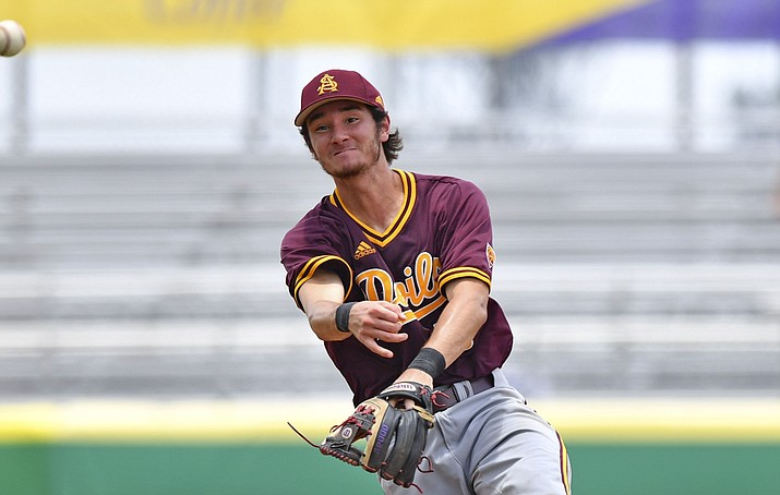 Arizona State second baseman Drew Swift (6) throws to first base to force out Stony Brook's Dylan Resk in the third inning of Game 3 of an NCAA college regional tournament Saturday, June 1, 2019, in Baton Rouge, La. (Hilary Scheinuk/The Advocate via AP)
