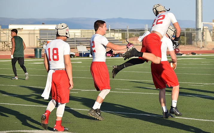Mingus Union football players celebrate a touchdown during a 7-on-7 game last year. The Marauders will host their first 7-on-7/Big Man Competition of the summer on Thursday at 5 p.m. VVN/James Kelley