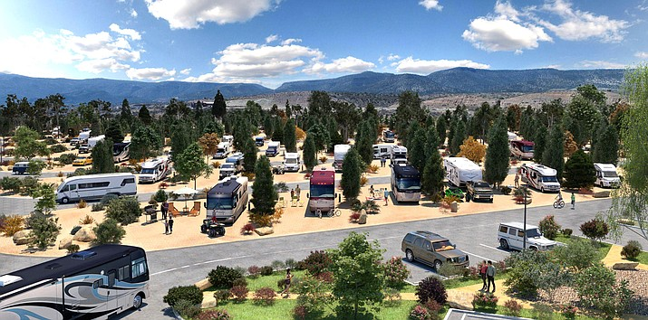 Artist's rendering of the Verde Ranch RV Resort, scheduled to open Aug. 1 in Camp Verde off SR 260 and I-17. Courtesy Contemporary Resorts and Residences