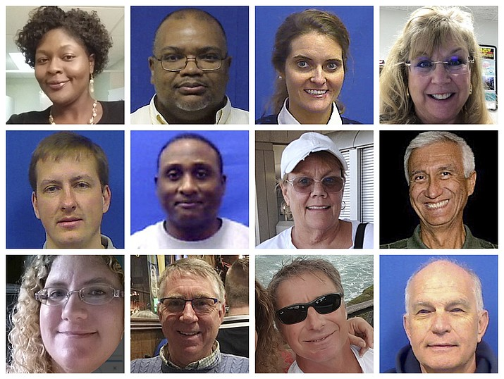 "This combination of photos provided by the City of Virginia Beach on Saturday, June 1, 2019, shows victims of Friday's shooting at a municipal building in Virginia Beach, Va. Top row from left are Laquita C. Brown, Ryan Keith Cox, Tara Welch Gallagher and Mary Louise Gayle. Middle row from left are Alexander Mikhail Gusev, Joshua O. Hardy, Michelle ""Missy"" Langer and Richard H. Nettleton. Bottom row from left are Katherine A. Nixon, Christopher Kelly Rapp, Herbert ""Bert"" Snelling and Robert ""Bobby"" Williams. (Courtesy City of Virginia Beach via AP)"