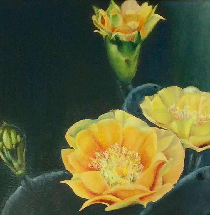 Light shines through delicate cactus petals, bringing to life the desert beauty in Jodie's paintings. To reproduce the colors that inspire her in nature, Jodie joins her lifelong passions for art and science, patiently mixing her pallet and using meticulously cleaned brushes.