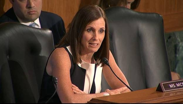 Sen. Martha McSally (R-AZ) spoke up on behalf of small businesses in Arizona communities on May 15, 2019 that have faced significant difficulties as a result of cumbersome, poorly targeted banking regulations. McSally is on the other side of the argument from Gov. Doug Ducey when it comes to tariffs. (Photo courtesy of Office of Sen. Martha McSally)