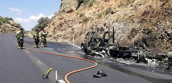 "Firefighters with Sedona and Copper Canyon districts, as well as US Forest Service, respond Saturday on I-17 northbound at milepost 301 to a motor home and tow vehicle ""fully involved with fire,"" according to David Rodriguez, captain with the Sedona Fire District. Photos courtesy Mike Loza/Copper Canyon Fire and Medical District"
