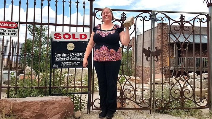 Jerome Cuban Queen co-owner Windy Jones hopes to use salvaged bricks from the original structure to rebuild the one-time Jerome bordello into a rooming house with an art studio and small retail space. Photo courtesy of Carol Anne Teague