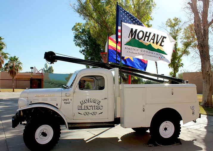 Restored old No. 1 truck comes out of retirement each year to participate in the Mohave County Electric Cooperative annual meeting. (Photo courtesy Mohave Electric Cooperative)