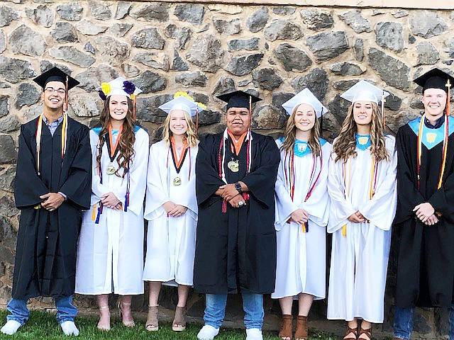 Williams High School graduates gather for a final photo after graduation May 24. Graduates include: Joe Zabala, Emily Bennett, Maddie Jensen, Mario Martinez, Jamie Donovan, Carston Brinkworth and Amaryssa Orozco. (Peggy Jensen/photo)