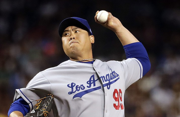 Los Angeles Dodgers starting pitcher Hyun-Jin Ryu throws against the Arizona Diamondbacks during the fourth inning of a game, Tuesday, June 4, 2019, in Phoenix. (Matt York/AP)