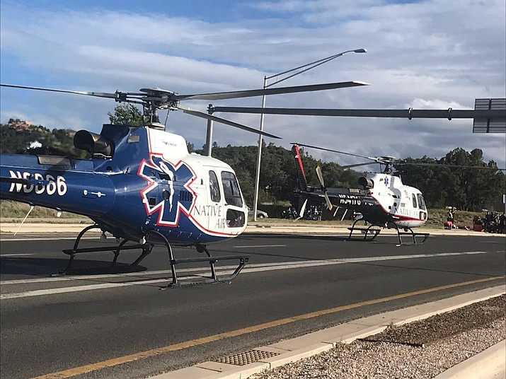 Two helicopters land near Gurley Street and Overland Trail to airlift 58-year-olds Jesse Gerhardt Jr. and Tamara Kelley to a Phoenix-area hospital after they were involved in a motorcycle accident Sunday, May 26, 2019. (Prescott Fire/Courtesy)