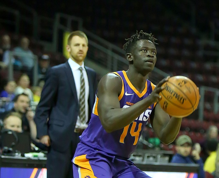 Peter Jok goes up for a shot as the Northern Arizona Suns take on Greensboro on March 15, 2019, in Prescott Valley. (Matt Hinshaw/NAZ Suns, file)