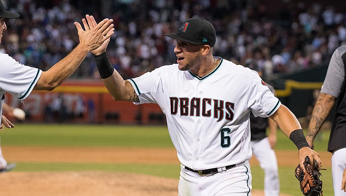 David Peralta singled home Eduardo Escobar as the D-backs picked up a 3-2 win over the Dodgers in 11 innings Wednesday at Chase Field. (File photo courtesy of Sarah Sachs/Arizona Diamondbacks)