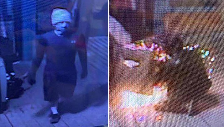 Officials say two male suspects entered the Boardwalk on Okaloosa Island, Florida Friday attempting to cut open an ATM with a blowtorch. The burning heat actually welded the ATM's hinges shut. (Video surveillance image, Okaloosa County Sheriff's Department)