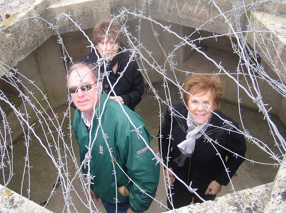 Gary Gift, Rita Rabalino and Pat Morrisson in a bunker on Utah Beach during a 2009 tour of the Normandie region of France. (Bill Morrison/Courtesy photo)