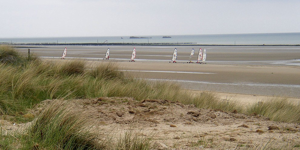 Sand yachts race on Utah Beach during a 2009 tour of the Normandie region of France. (Bill Morrison/Courtesy photo)