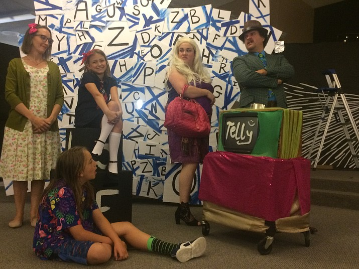 """Catherine Stippick, Daniel Colvaod, Danika Phillips, Marissa Ellis and David Castagner in One Story Creations' """"Matilda the Musical,"""" showing at 7 p.m. Thursday through Saturday, June 6-8 at the Hillside Community Church Theater. (Jason Wheeler/Courier)"""