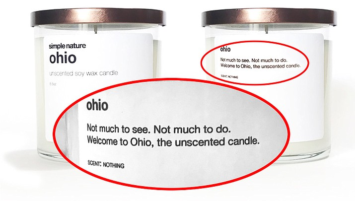 """A candle being sold by an Indiana company, Simple Nature, is marketing an unscented Ohio candle with the description, """"Not much to see. Not much to do."""""""