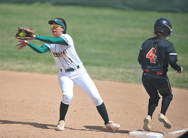 Yavapai's Shaylee Alani tries to make the play at first as the Roughriders take on the Chandler Gilbert Coyotes Tuesday, March 19, 2018 in Prescott. She and teammate Kylie Brown were named to the 2019 NJCAA Division I All-Region first team on Wednesday, June 5.  (Les Stukenberg/Courier)
