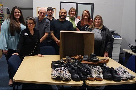 More than 4,200 shoes were donated during the Coldwell Banker Residential Brokerage drive. (Courtesy)