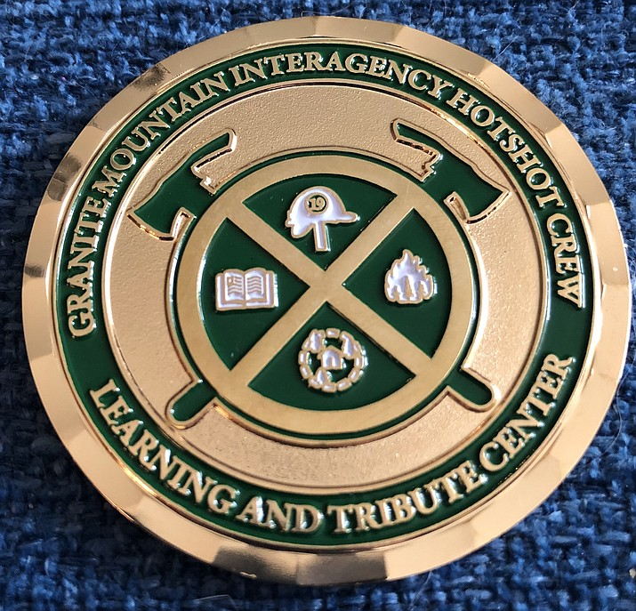 A fundraiser featuring commemorative Challenge Coins  honoring the fallen 19 Granite Mountain Hotshots is set for June 19 at the Elks Theatre in downtown Prescott.(Courtesy)