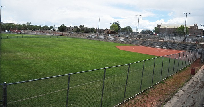 The City of Prescott is working with Prescott High School to host football games this fall at Ken Lindley Field as a $2.5 million turf field, track and LED stadium lighting project is being installed at Prescott High School's Bill Shepard Field.(Les Stukenberg/Courier)