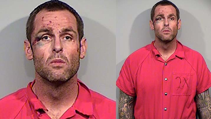 Prescott resident Michael Bland, 38, is in the county jail facing felony charges including Unlawful Flight from Law Enforcement, Felony Endangerment, Resisting Arrest, Reckless Driving, Driving under the Influence of Drugs, as well as an outstanding Felony Warrant for a Parole Violation. (Prescott Police/Courtesy)