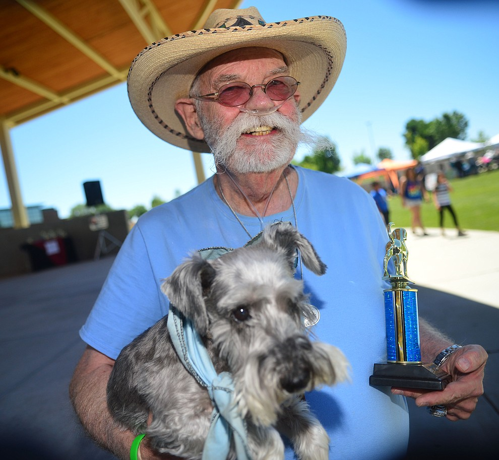 """Tom Gammill & Molly won the """"pet/owner look-a-like .contest"""" at Woofstock at the Civic Center in Prescott Valley Saturday, June 8, 2019. (Les Stukenberg/Courier)"""
