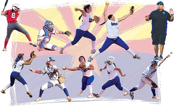 From left top row: Maddie Bejarano first team All-4A, Dominiq Bruno first team All-2A, Tyra Smith 2A Conference Defensive Player of the Year and first team All-2A, Jacy Finley first team All-2A and Henry Smith 2A Conference Coach of the Year. From left bottom row: Rachel Stockseth first team All-2A, Dakota Battise second team All-2A, Jenna Huey second team All-2A, Casandra Casillas second team All-2A and Dawson McCune second team All-2A.VVN/James Kelley