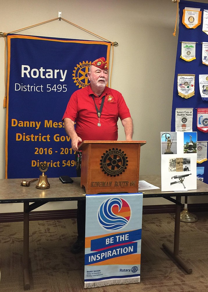 Terry Flanagan, Commandant of Marine Corps League 887, speaks to the Kingman Route 66 Rotary Club on May 24. (Photo courtesy of Jo Ann Oxsen/Kingman Route 66 Rotary Club)