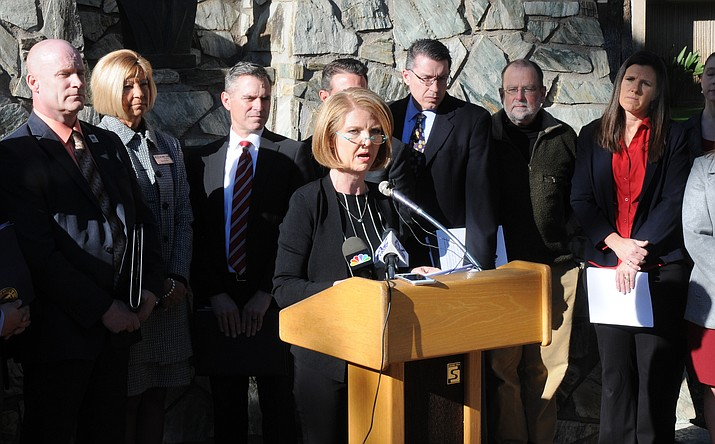 Sen. Heather Carter speaks about her legislation concerning vaping in this Jan. 8, 2019 file photo. Carter, along with Sen. Kate Brophy McGee, were responsible for the defeating a bill setting up a program to dissuade women from seeking abortions pushed by Cathi Herrod, who leads the powerful social conservative group Center for Arizona Policy. (Capitol Media Services file photo/Howard Fischer)