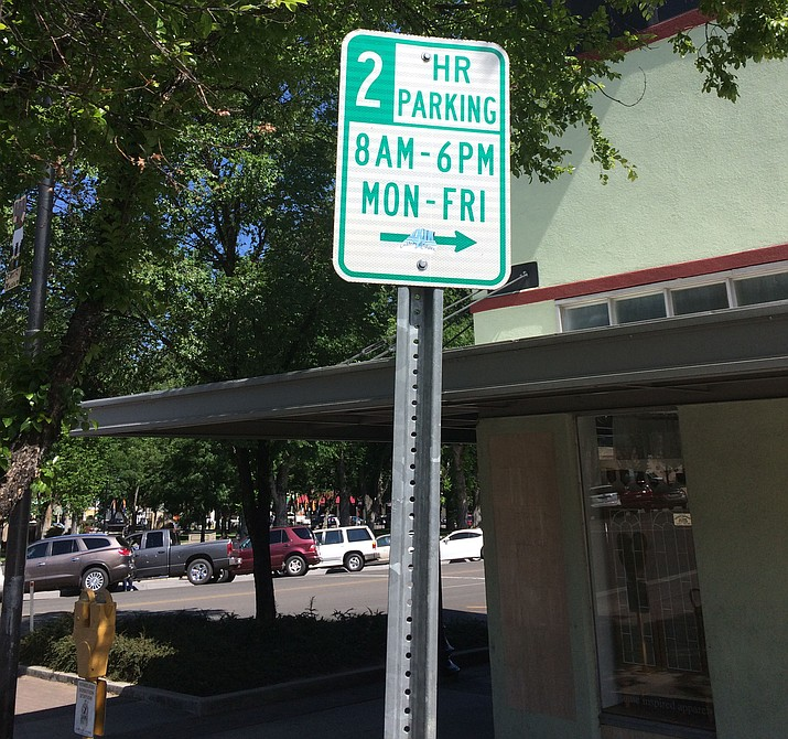Parking signs for two-hour parking could be replaced with three-hour limit signs based on a Prescott City Council vote on Tuesday, June 11. (Nanci Hutson/Courier)
