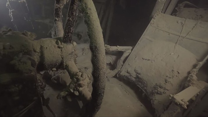 A look inside the WWII Superfortress B-29 that is submerged in Lake Mead. (NPS video image)