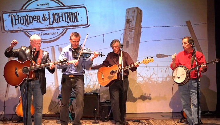 """Saturday, June 15th, Thunder & Lightnin' is back in the room where it all started. Coming off the heels of their first in a series of concerts throughout Arizona, and riding the momentum of their popular new album """"Call of the Wild"""", they're ready to simply pick and grin with the locals at the Grasshopper."""
