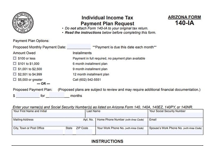 A taxpayer can contact ADOR and request a payment plan over the phone or fill out Form 140-IA. (ADOR photo)