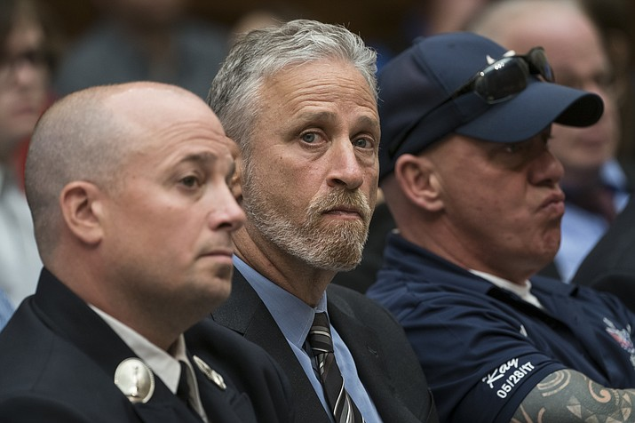 Entertainer and activist Jon Stewart lends his support to firefighters, first responders and survivors of the September 11 terror attacks at a hearing by the House Judiciary Committee as it considers permanent authorization of the Victim Compensation Fund, on Capitol Hill in Washington, Tuesday, June 11, 2019. (J. Scott Applewhite/AP)
