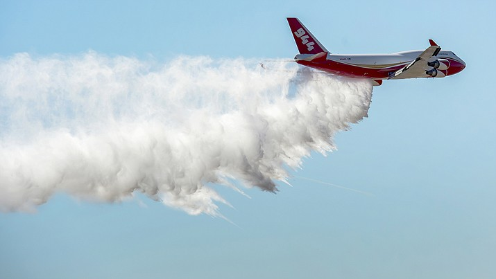 The Global SuperTanker, the world's largest firefighting aircraft, has been readied for the 2019 wildfire season. The Boeing 747-400 series passenger jet converted for firefighting underwent maintenance recently at Pinal Airpark outside Tucson, Ariz. (Christian Murdock/The Gazette via AP)
