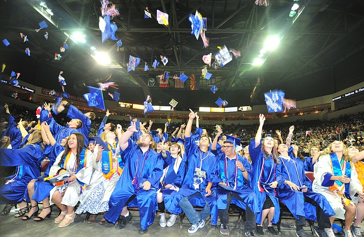 Chino Valley High School graduated 153 students on May 22, 2019. The Chino Valley school board has approved changes to the calculations for valedictorian and salutatorian. (Les Stukenberg/Review)