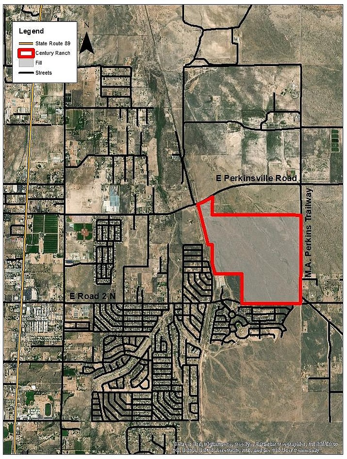 The location of Century Ranch, the first phase of which was forwarded to the Chino Valley Town Council at the Tuesday, June 4 meeting of the Chino Valley Planning & Zoning Committee. (Town of Chino Valley/Courtesy)