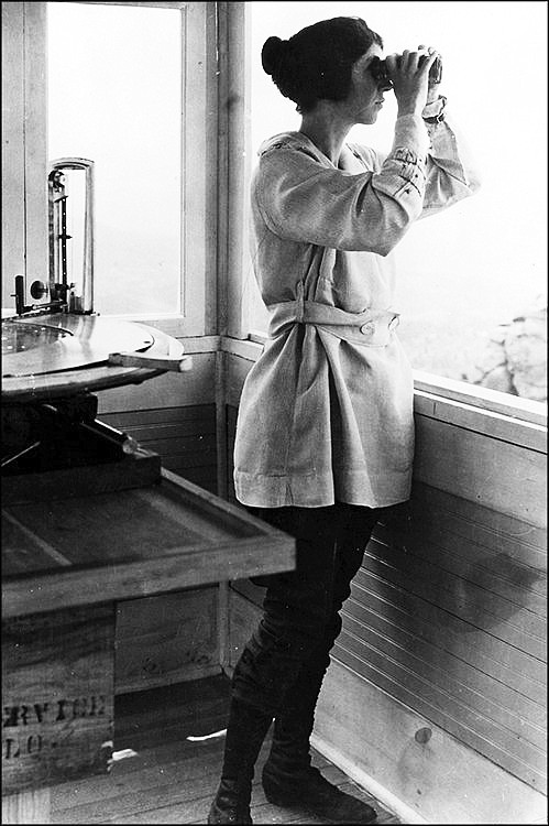 Helen Dowe was the first female fire lookout stationed at Devil's Head, where she served from 1919 to 1921. Dowe was hired because there was a shortage of able-bodied men brought about by World War I. (Photo/Kaibab National Forest)