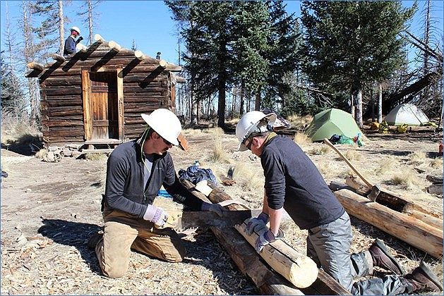 Kaibab National Forest employees, partners and volunteers have worked together for more than two years to rehabilitate the historic 1911 Kendrick Mountain Fire Lookout Cabin. (Neil Weintraub/USFS photo)