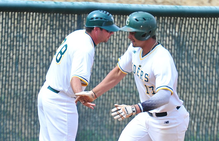 Yavapai's Christian Encarnacion-Strand, right, rounds third after his fourth inning solo homer as the Roughriders take on Paradise Valley in their 2019 home opener Tuesday, March 26 in Prescott. The Freshman infielder was named to the NCJAA Division 1 All-American First Team on Tuesday, June 11, 2019. (Les Stukenberg/Courier)
