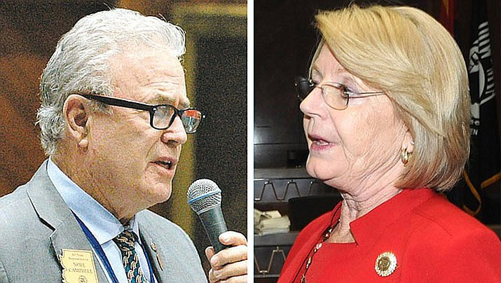"Rep. Noel Campbell, R-Prescott, left, who sponsored the House version of the increase that Gov. Doug Ducey vetoed on Friday, said this isn't about lawmakers lining their pockets: ""We have members that are living in motor homes in not-very-nice locations,"" he said. Senate President Karen Fann, right: ""There's some of our members that were really counting on that to help them get through the cost of serving."" (Courier file photos)"