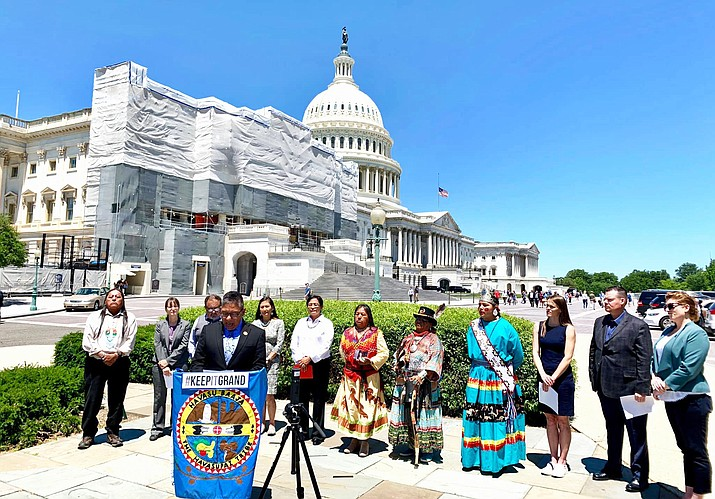 Navajo Nation Vice President Myron Lizer speaks in support of H.R. 1373 June 4 during a press conference at the U.S. Capitol. (Photo courtesy of the Navajo Nation President and Vice President)