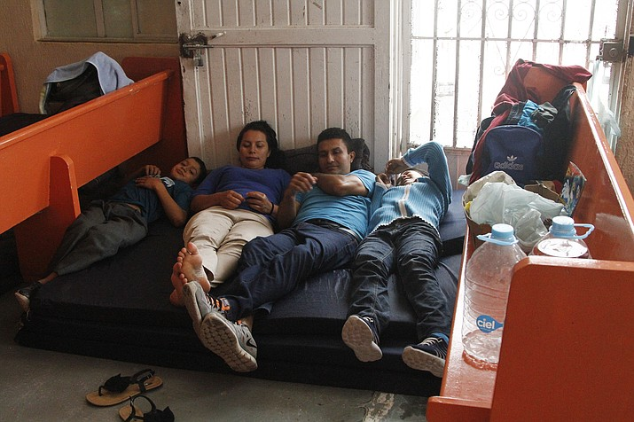 Mirna Esperanza Martinez, from El Salvador, rests with family members June 10, 2019, at the Buen Pastor migrant shelter in Ciudad Juarez, Mexico. They are subject to a new policy that makes asylum seekers wait in Mexico while their asylum cases wind through U.S. immigration court. (Cedar Attanasio/AP)
