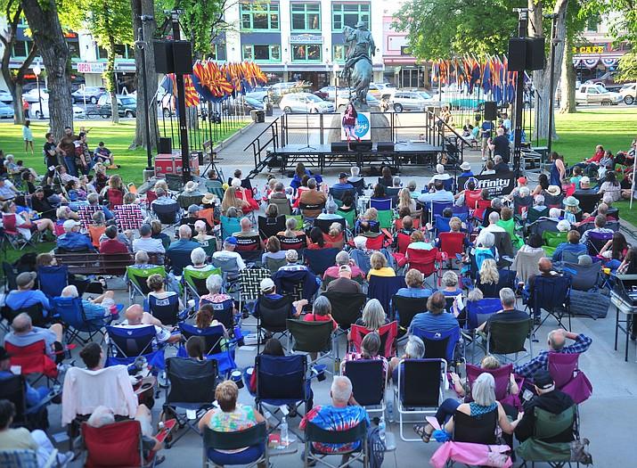 Desirae Yourgules sings Praying by Keesha as Prescott Sings, formerly Prescott Idol, opens their 10th season Thursday, June 6 on the Courthouse Plaza. (Les Stukenberg/Courier)